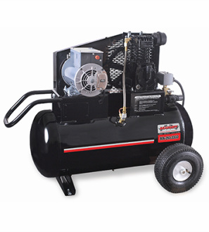 Portable 20 gallon horizontal powder coated air compressor with 8.4 cubic feet per minute/100 pounds per square inch and an industrial 2 horse power 120 volt 18.8 amp single phase electric motor