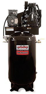 Stationary 80 gallon vertical powder coated air compressor with 18 cubic feet per minute/175 pounds per square inch and an industrial 5 horse power 230 volt 23 amp single phase electric motor