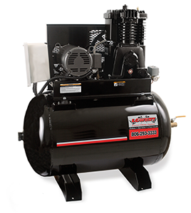 Stationary 80 gallon horizontal powder coated air compressor with 23.2 cubic feet per minute/175 pounds per square inch and an industrial 7.5 horse power 230 volt 31 amp single phase electric motor