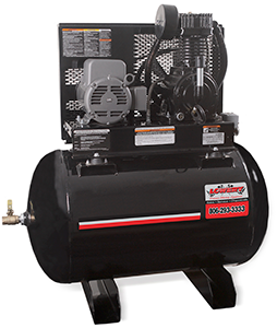 Stationary 80 gallon horizontal powder coated air compressor with 18 cubic feet per minute/175 pounds per square inch and an industrial 5 horse power 230 volt 23 amp single phase electric motor