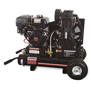 Gas engine driven twin 8 gallon 17.2 cubic feet per minute/175 pounds per square inch powder coated industrial 270cc Honda overhead valve air compressor with pneumatic idle control