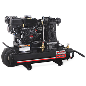 Gas engine driven twin 8 gallon 13.1 cubic feet per minute/100 pounds per square inch powder coated industrial 196cc Honda air compressor overhead valve with pneumatic idle control