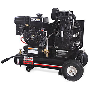 Gas engine driven twin 8 gallon 17.2 cubic feet per minute/175pounds per square inch powder coated industrial 265cc Subaru overhead valve air compressor with pneumatic idle control